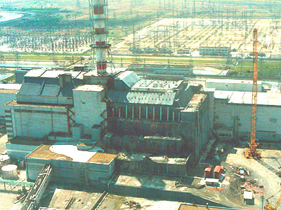 """A """"Sarcophagus"""" built over the ruined reactor"""